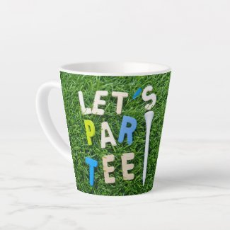 Golf let us golfer party with tee on green grass latte mug