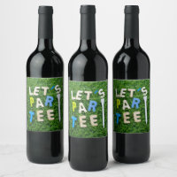 Golf let us golfer party with tee on green grass wine label