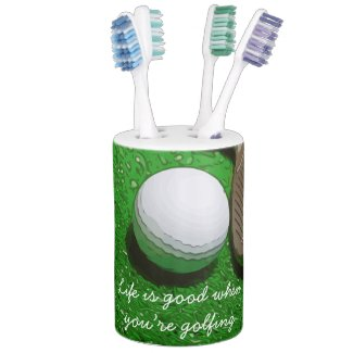 Golf Life is good with golf ball on green grass Bath Set