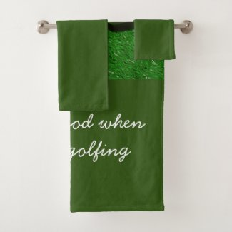 Golf Life is good with golf ball on green grass Bath Towel Set