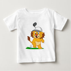 Baby Fine Jersey T-Shirt with Golfing Lion design