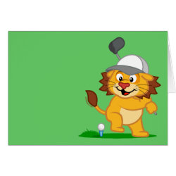 Greeting Card with Golfing Lion design