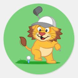 Round Sticker with Golfing Lion design