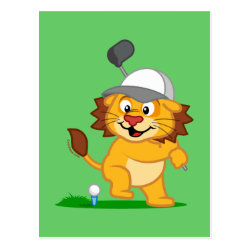 Postcard with Golfing Lion design
