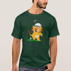 Men's Basic Dark T-Shirt with Golfing Lion design