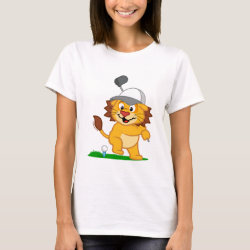 Women's Basic T-Shirt with Golfing Lion design