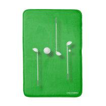 Golf Logo With Golf Ball Clubs Birdie Eagle Golfer Bath Mat