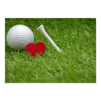 Golf love heart and tee on green grass invitation