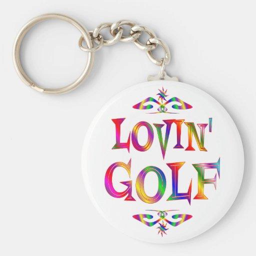 Golf Lover Basic Round Button Keychain