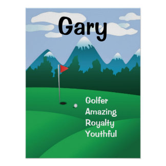 Golf Mens Womens Personalized Name Art Gift Print