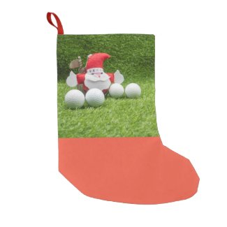 Golf Merry Christmas to golfer with Santa Claus Small Christmas Stocking