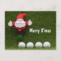 Golf Merry Christmas with Santa Claus and ball Announcement Postcard