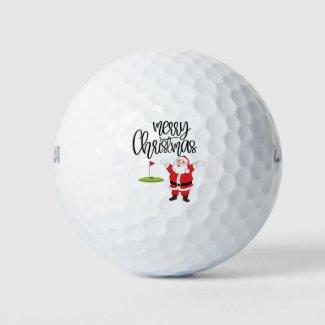 Golf Merry Christmas with Santa Claus at flag  Golf Balls