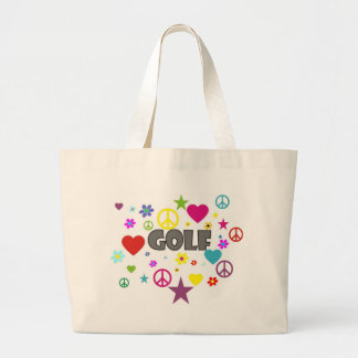Golf Mixed Graphics Large Tote Bag