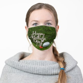 Golf Mom for Morther's Day with tee and red heart Adult Cloth Face Mask