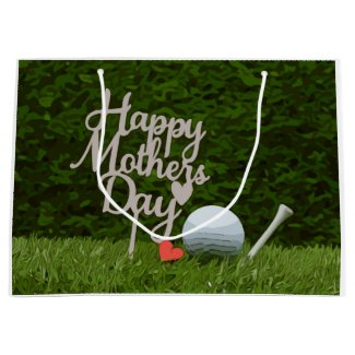 Golf Mom for Morther's Day with tee and red heart Large Gift Bag
