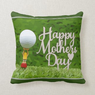 Golf Mom for Morther's Day with tee and red heart Throw Pillow