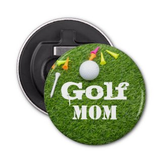 Golf Mom word with ball and tees on green grass Bottle Opener