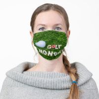 Golf  Monday with golf ball on green grass Cloth Face Mask