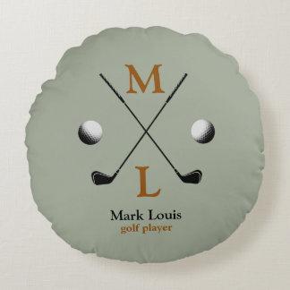 golf monogram logo round pillow
