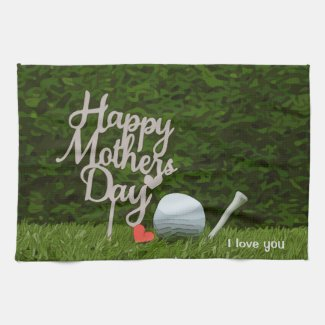 Golf Mother's Day love you with golf ball and tee Kitchen Towel
