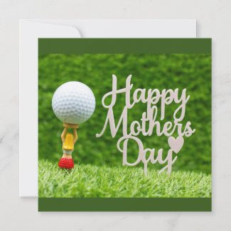 Golf Mother's  Day with golf ball  and red heart