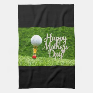 Golf Mother's  Day with golf ball  and red heart Kitchen Towel