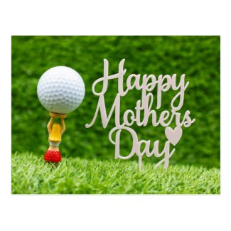 Golf Mother's  Day with golf ball  and red heart Postcard