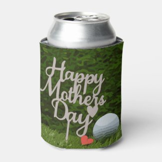 Golf  mother's day with golf ball and tee on green can cooler