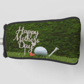 Golf  mother's day with golf ball and tee on green golf head cover