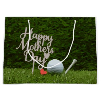 Golf  mother's day with golf ball and tee on green large gift bag