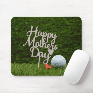 Golf mother's day with golf ball and tee on green mouse pad