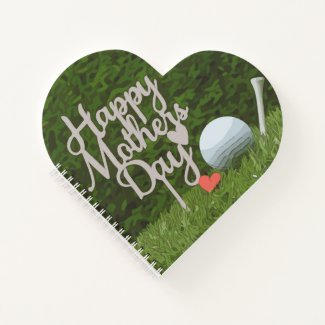 Golf  mother's day with golf ball and tee on green notebook