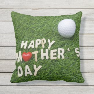 Golf Mother's Day with golf ball on green grass Outdoor Pillow