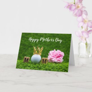 Golf Mother's Day with golf tee I love you mom  Card