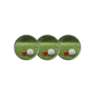 Golf Mother's Day with love golf ball on green Golf Ball Marker