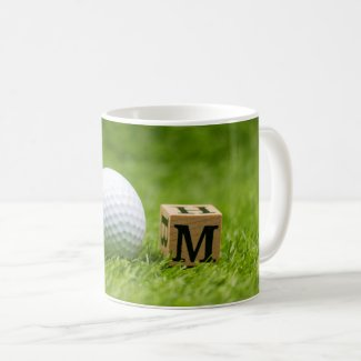 Golf Mother's Day with Mom word on green grass  Coffee Mug