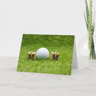 Golf Mother's Day with Mom word on green grass Holiday Card