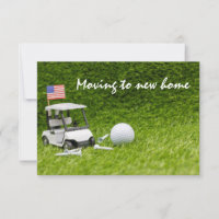 Golf moving new home with golf cart and golf ball thank you card