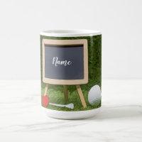 Golf mug for golfer with golf ball and tee