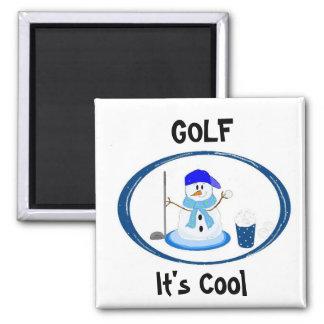 Golf - muñeco de nieve imán cuadrado