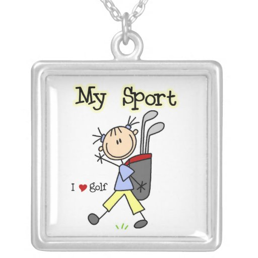 Golf My Sport Square Pendant Necklace