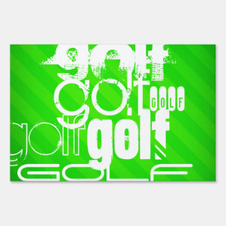 Golf; Neon Green Stripes. Yard Sign