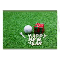 Golf New year with letters and ball on green grass