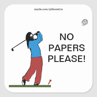 Golf No Papers Please Sticker