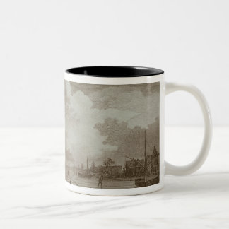 Golf on ice, copperline engraving by Van Dreve Two-Tone Coffee Mug