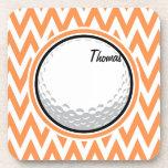 Golf; Orange and White Chevron Drink Coasters