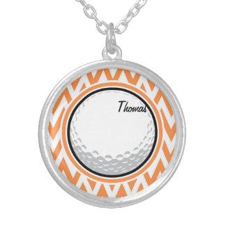 Golf; Orange and White Chevron Necklace