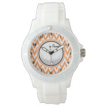Golf; Orange and White Chevron Wrist Watch