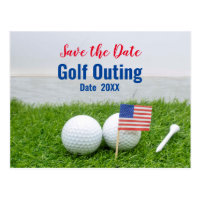 Golf Outing Save the Date with Flag of America Postcard